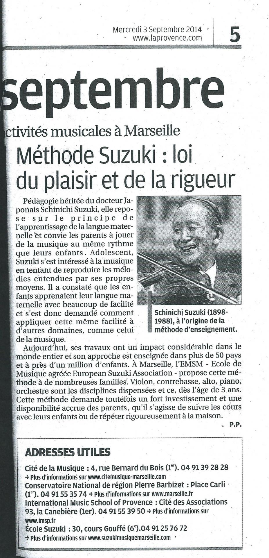 Article laprovence sept2014